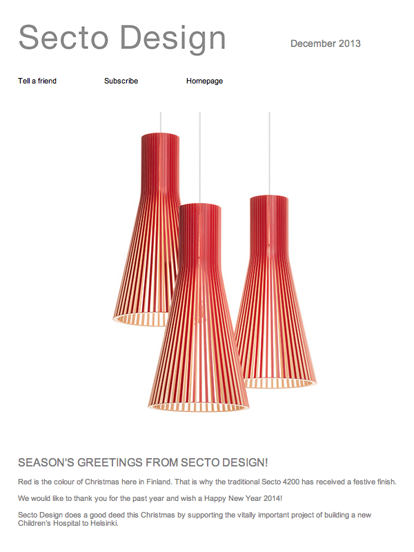 Season's greetings 2013-2014 from Secto Design